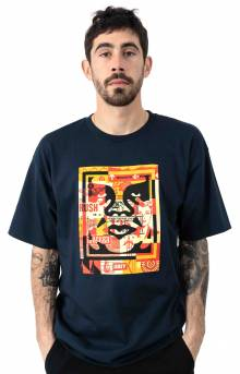 Obey 3 Face Collage T-Shirt - Navy