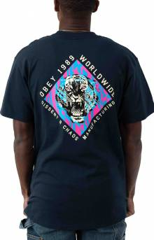 Obey Dissent & Chaos Tiger T-Shirt - Navy