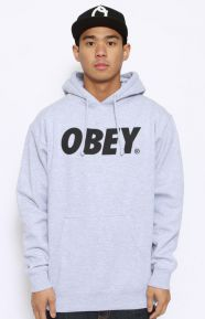 Obey Font Pullover Hoodie - Grey