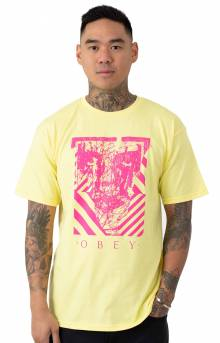 Obey Scratched Icon T-Shirt - Lemon