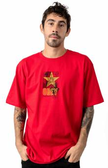 Obey With Caution T-Shirt - Red