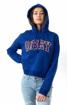Conrad Cropped Pullover Hoodie - Cobalt