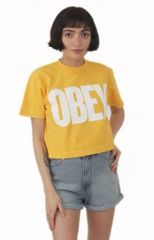 Obey Mom Jeans Mock Neck Cropped T-Shirt - Mango