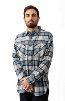 Burnside Flannel Button-Up Shirt - Grey/Navy