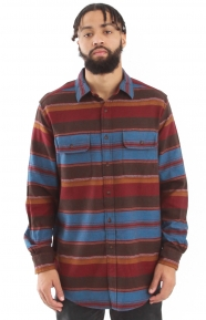 Fitted Camber Stripe Button-Up Shirt - Brown