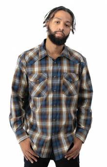 Frontier L/S Button-Up Shirt - Blue/Navy/Brown Plaid