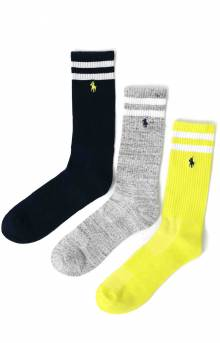 Bar Stripe Cushioned Crew Socks 3 Pack - Pale Green