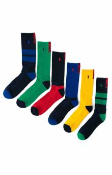 Colorblock Cushioned Crew Socks - 6 Pack