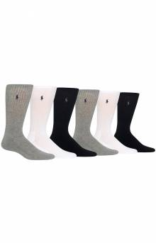 Cushioned Crew Socks 6 Pack - Grey Assorted