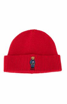 Jean Jacket Sweater Bear Cuff Beanie - Carriage Red