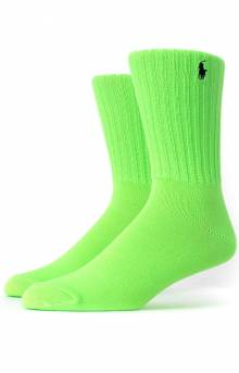 Neon Slouch Crew Socks - Bright Green