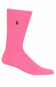 Neon Slouch Crew Socks - Bright Pink