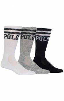 Polo Logo Cushioned Crew Socks 3 Pack - White Assorted