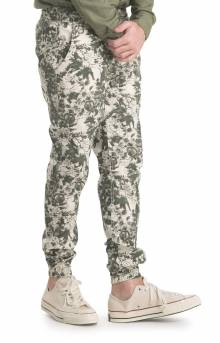 Floral Joggers - Olive
