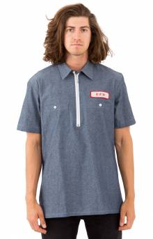 Quarter Zip-Up Work Shirt - Dark Washed Chambray