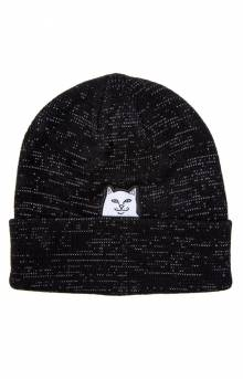Lord Nermal Rib Beanie - Black Reflective Yarn