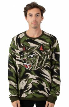 Tiger Nerm Knit Sweater - Green Camo