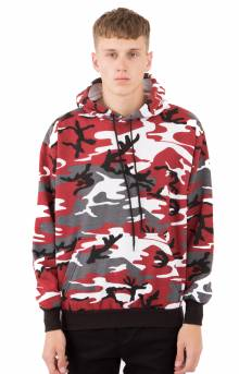 (2790) Camo Pullover Hooded Sweatshirt - Red