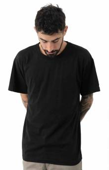 (6670) Solid Color Cotton / Polyester Blend Military T-Shirt - Black