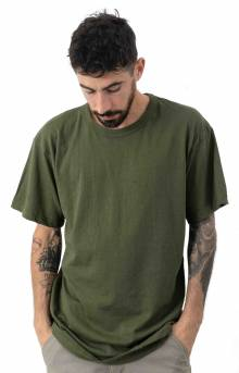 (6979) Solid Color Cotton / Polyester Blend Military T-Shirt - Olive Drab