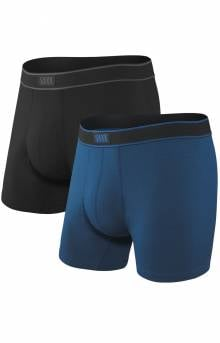 Daytripper 2 Pack Boxer Brief Fly - Black/City Blue Heather