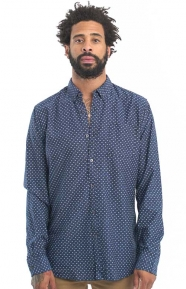 Ams Blauw Slim Fit All Over Print Button-Up Shirt