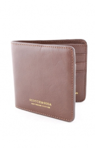 Scotch & Soda Clothing, Leather Flip-Open Wallet - Brown