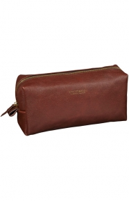 Scotch & Soda Clothing, Leather Toiletry Bag - Brown