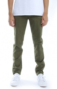Scotch & Soda Clothing, Mott Garment Dyed Trousers Super Slit Fit Pants - Military
