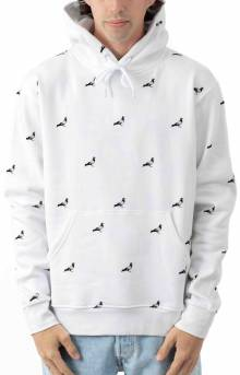 Allover Pigeon Pullover Hoodie - White