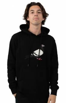 Pigeon Embroidered Pullover Hoodie - Black