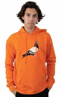 Pigeon Embroidered Pullover Hoodie - Orange