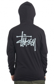 Basic Stussy L/S Hooded Tee - Black