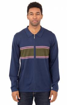 Cody Stripe L/S Polo Sweater - Navy