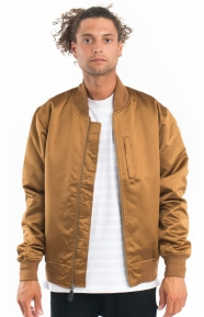 Emory Satin Bomber Jacket - Brown