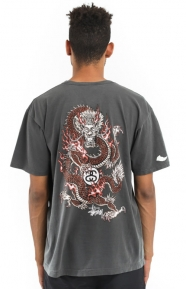 Fire Dragon Pigment Dyed T-Shirt - Black