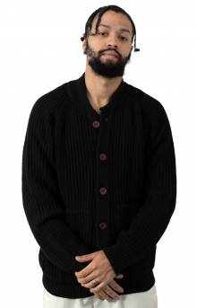 Heavy Rib Stitch Cardigan - Black