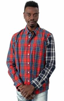 Mixed Plaid Button-Up Shirt - Multi