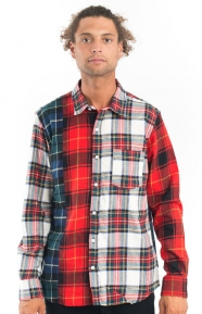 Mixed Tartan Button-Up Shirt - Multi