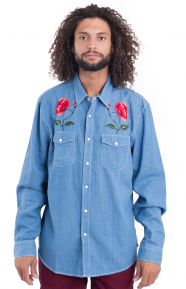 Poppy Denim Button-Up Shirt - Light Blue