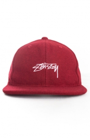 Stussy Clothing, Smooth Stock Melton Wool Snap-Back Hat - Red