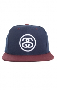Stussy Clothing, SS-Link Snap-Back Hat - Navy/White/Wine