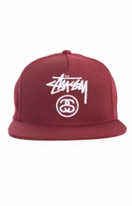 Stussy Clothing, Stock Lock Snap-Back Hat - Cardinal