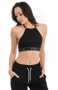 Basic High Neck Crop Top - Black