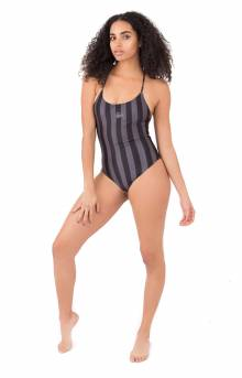 Carter Stripe One PC Swim Suit - Black