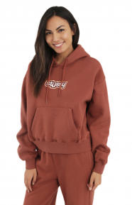 Civil Cropped Pullover Hoodie - Rust