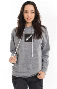 Stussy Womens Clothing, Squared Raw Edge Pullover Hoodie - Grey