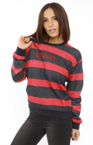 Striped Terry Sloopy Crewneck