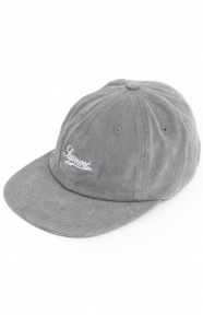Brushed Twill Script 6 Panel Hat - Grey