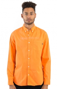 Twill Chambray Button-Up Shirt - Orange